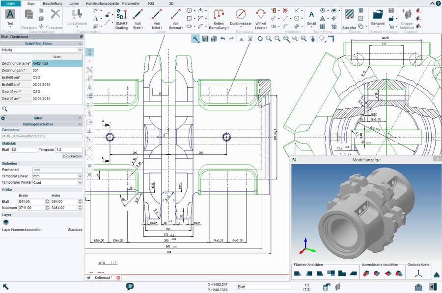 2d 3d cad software medusa4 for Barhocker 2d cad