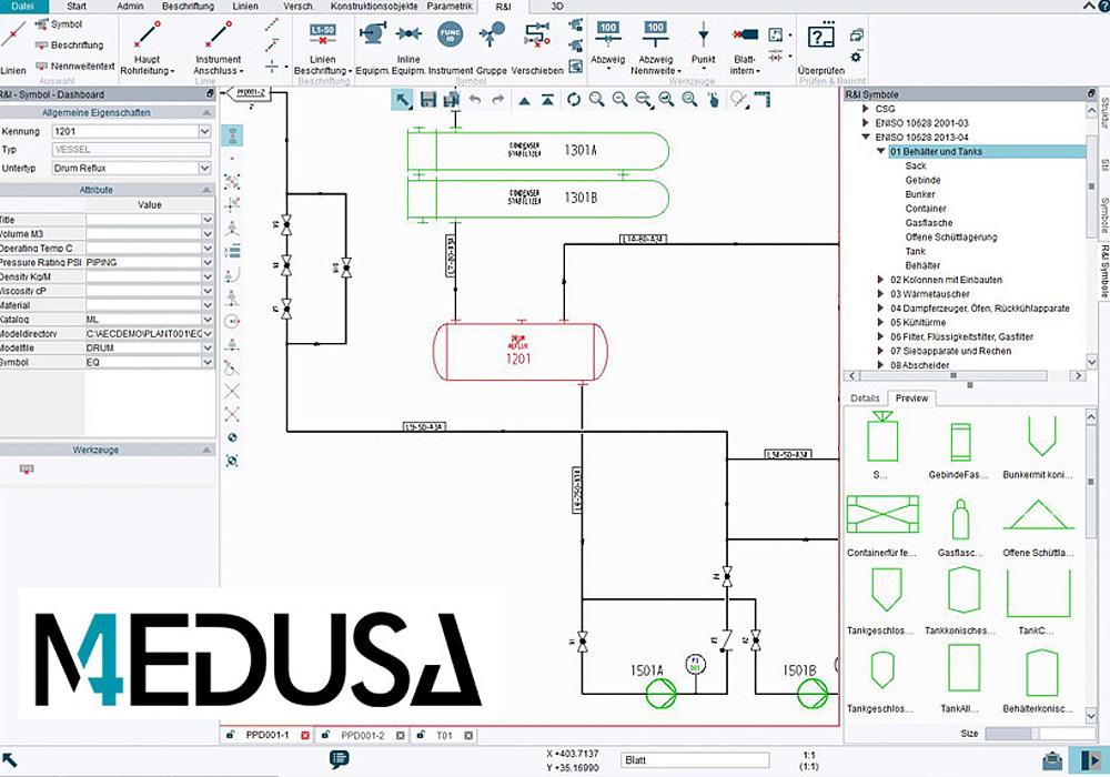 P&ID offre cataloghi di simboli che seguono le norme EN ISO e ANSI