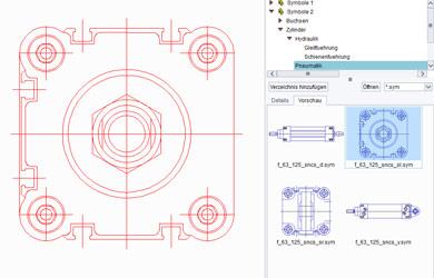CAD-Symbole für technische Zeichnungen