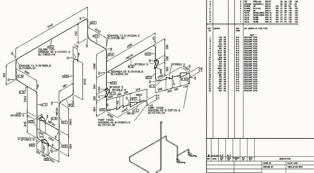 Disegni isometrici di tubazioni 2D con una vista 3D del segmento di tubo creato in MPDS4 con elenchi materiali completi