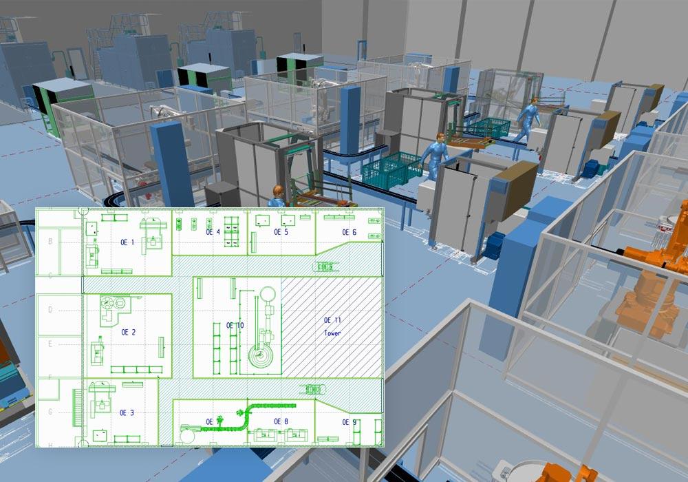Layout di fabbrica in 2D per ottenere una visualizzazione 3D