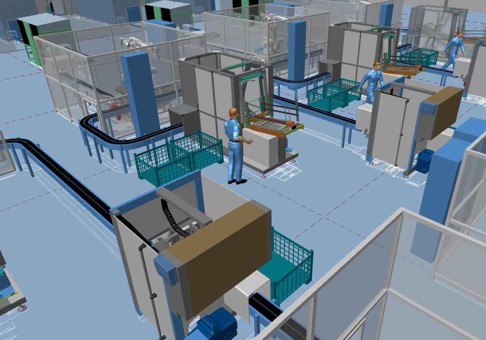 Moderna pianificazione della fabbrica grazie al layout di fabbrica 3D
